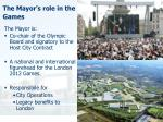 the mayor s role in the games
