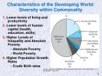 characteristics of the developing world diversity within commonality