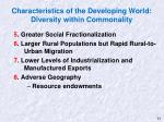 characteristics of the developing world diversity within commonality1