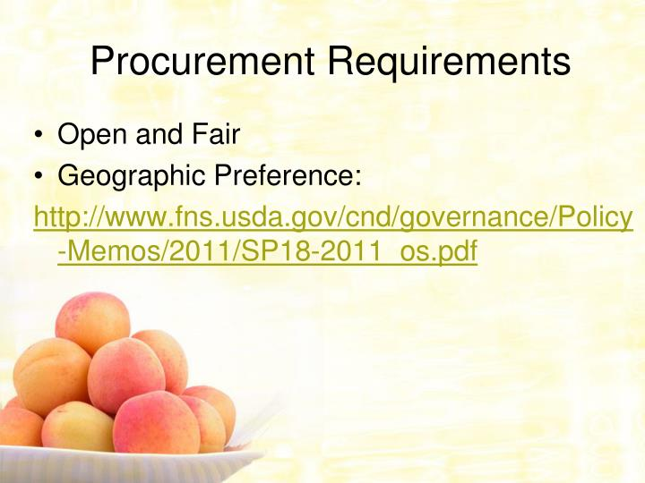 Procurement Requirements