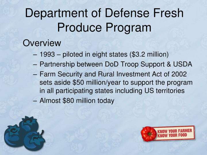 Department of Defense Fresh Produce Program