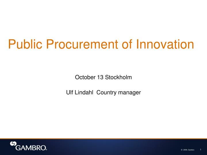 public procurement of innovation n.