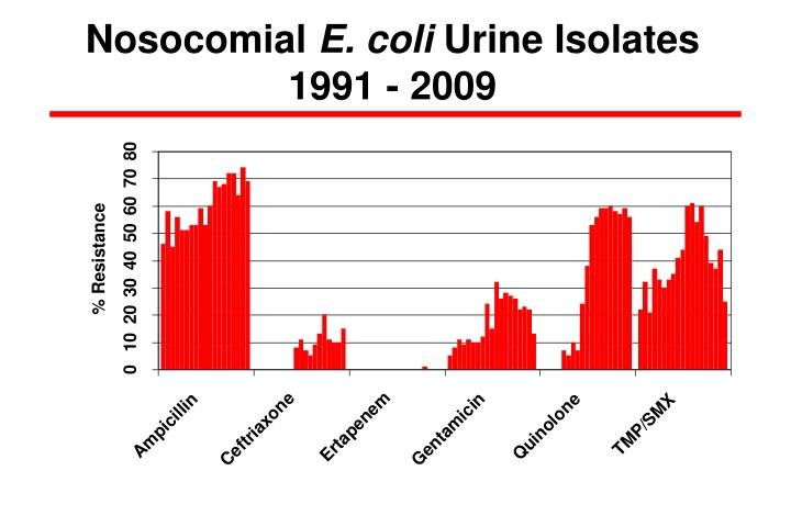 nosocomial e coli urine isolates 1991 2009 n.