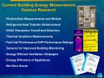 current building energy measurement science research