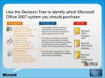 use the decision tree to identify which microsoft office 2007 system you should purchase