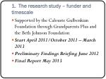 1 the research study funder and timescale