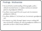 findings multivariate