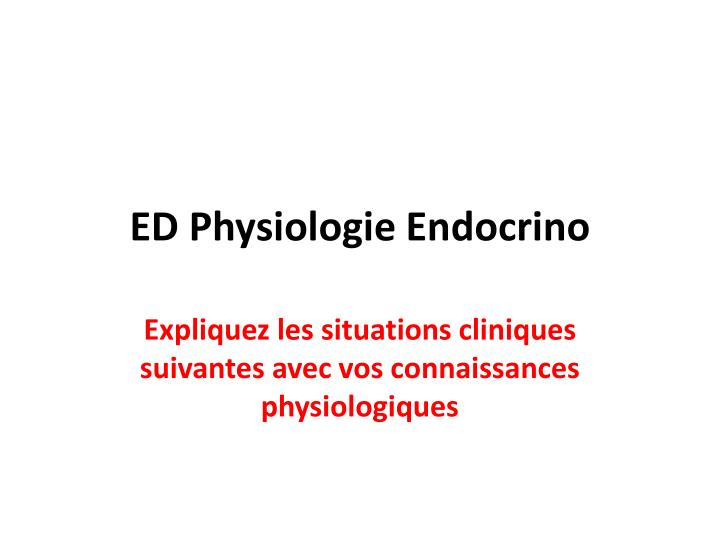 ed physiologie endocrino n.