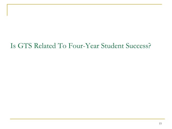 Is GTS Related To Four-Year Student Success?