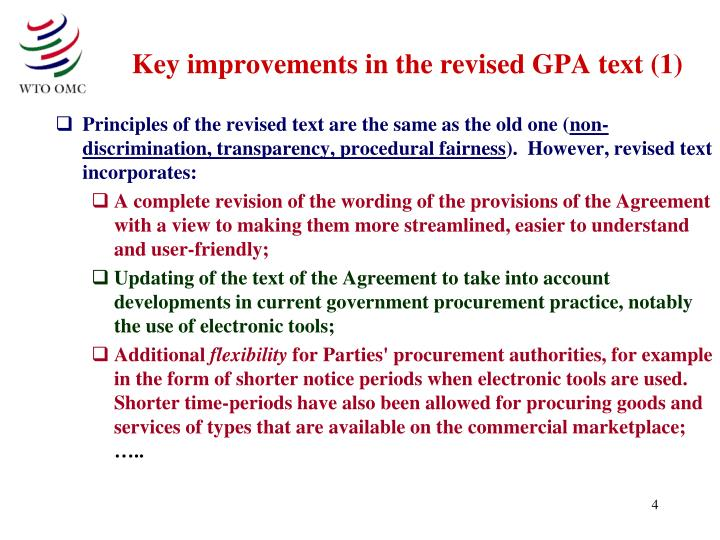 Key improvements in the revised GPA text (1)
