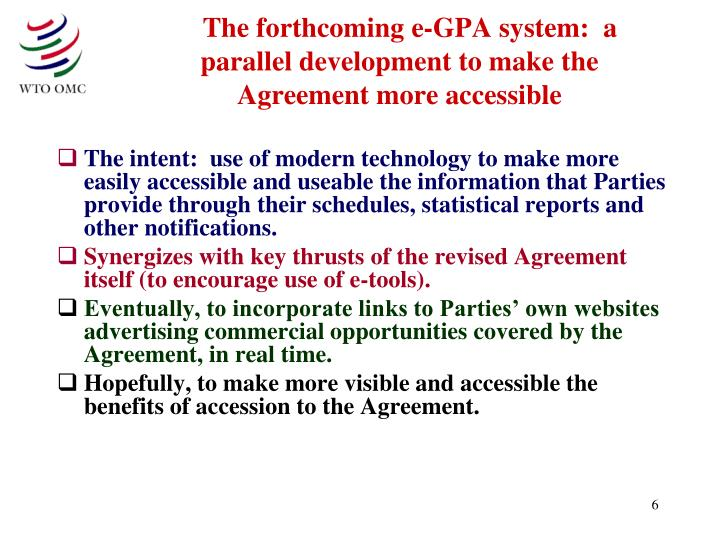 The forthcoming e-GPA system:  a parallel development to make the Agreement more accessible