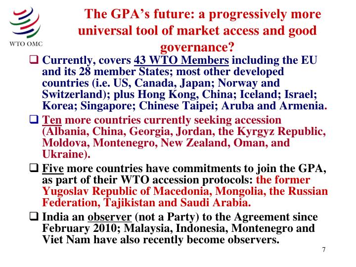 The GPA's future: a progressively more universal tool of market access and good governance?