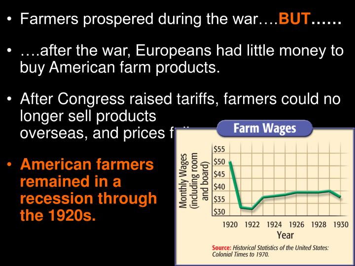Farmers prospered during the war….
