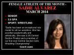 female athlete of the month sadie alvarez march 2014
