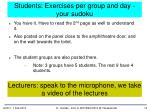 students exercises per group and day your sudoku