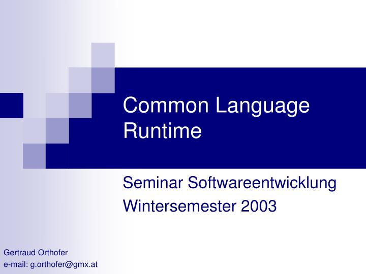 common language runtime n.