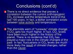 conclusions cont d