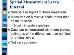 spatial measurement levels interval