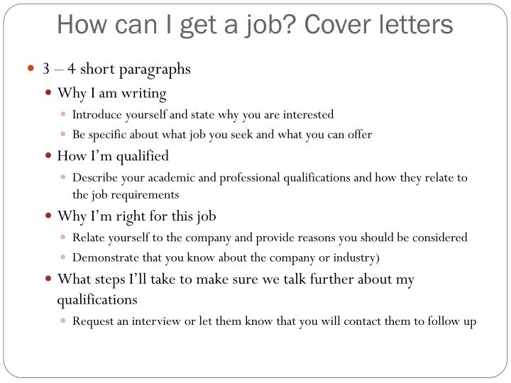 How can I get a job? Cover letters