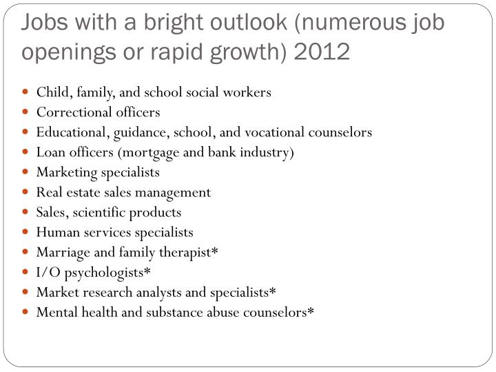 Jobs with a bright outlook (numerous job openings or rapid growth) 2012