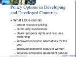 policy options in developing and developed countries
