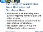 the global environment rain forest destruction and greenhouse gases