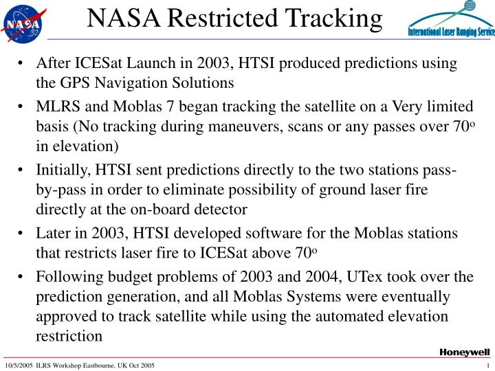 nasa restricted tracking n.