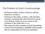 the problem of god s foreknowledge