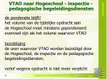 vtao naar hogeschool inspectie pedagogische begeleidingsdiensten