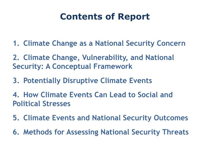 Contents of Report
