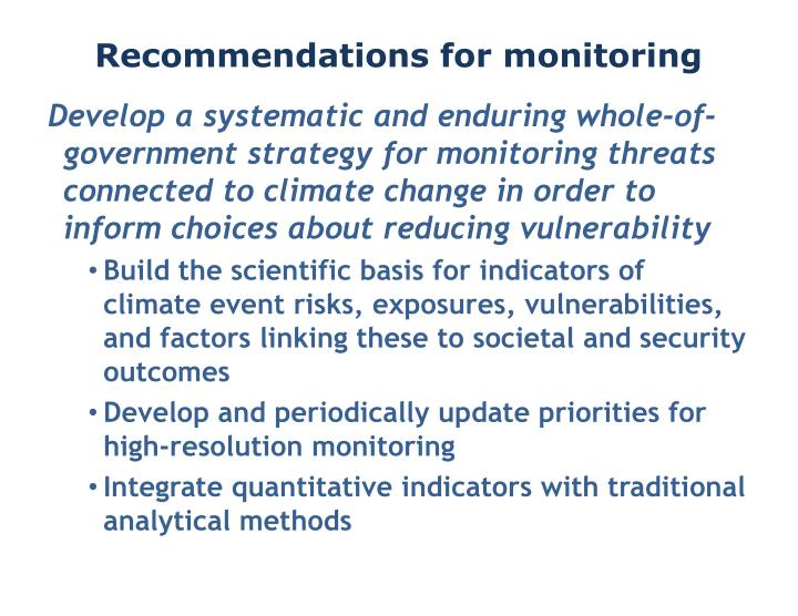Recommendations for monitoring