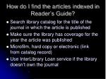 how do i find the articles indexed in reader s guide
