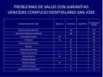 problemas de salud con garantias vencidas complejo hospitalario san jose