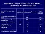 problemas de salud con mayor vencimiento complejo hospitalario san jose