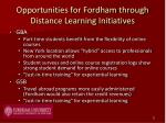 opportunities for fordham through distance learning initiatives