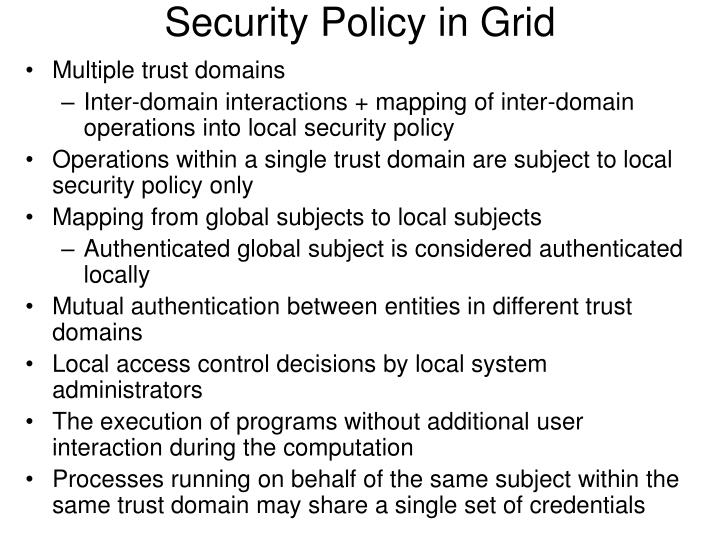 Security Policy in Grid