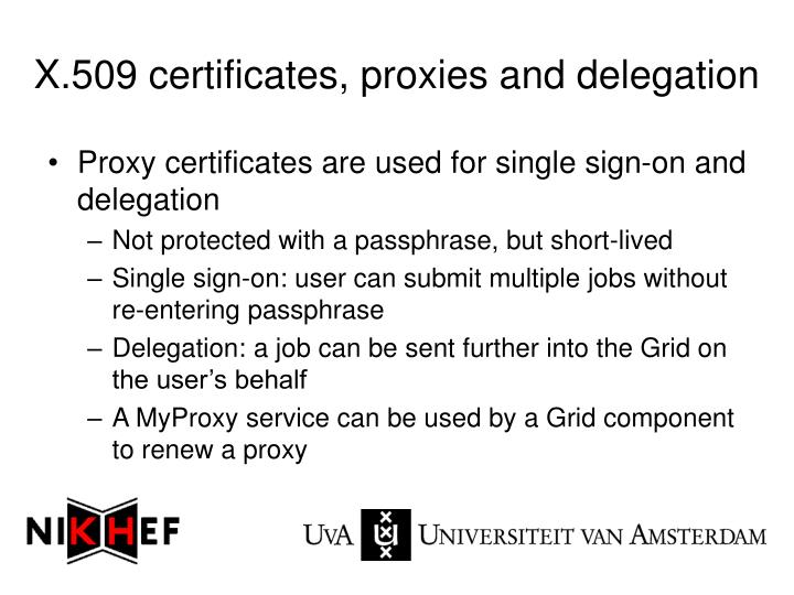 X.509 certificates, proxies and delegation