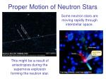 proper motion of neutron stars
