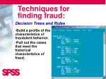 techniques for finding fraud1