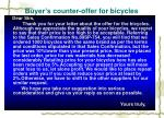 buyer s counter offer for bicycles