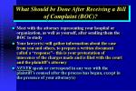 what should be done after receiving a bill of complaint boc