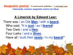 anapestic poetry 2 unstressed syllables 1 stressed one limericks contain anapestic meter in blue