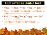 lines containing iambic feet
