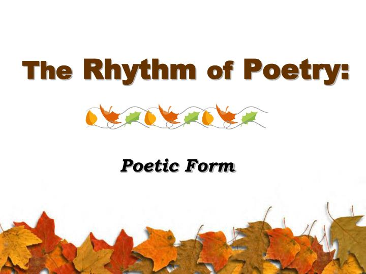 the rhythm of poetry n.