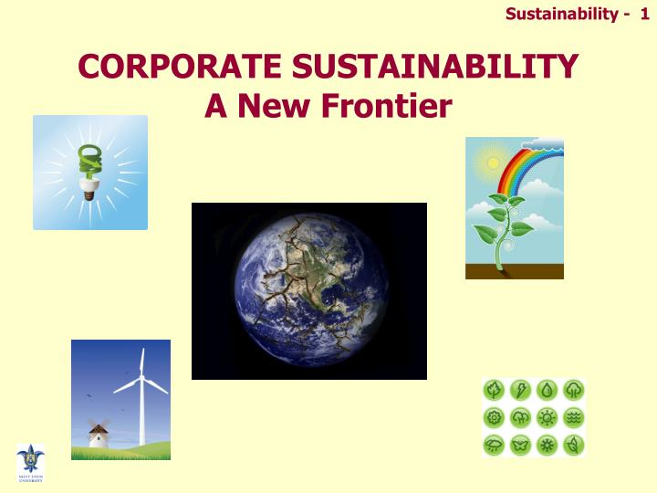 corporate sustainability a new frontier n.
