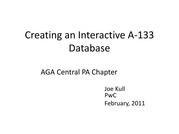 creating an interactive a 133 database n.