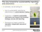 the way forward for sustainability reporting and assurance 3