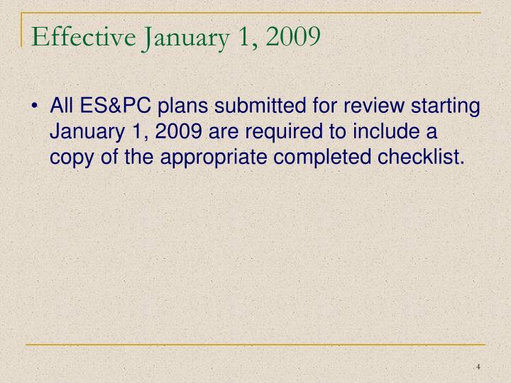 Effective January 1, 2009