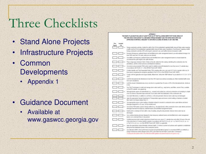 Three checklists