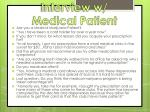 interview w medical patient